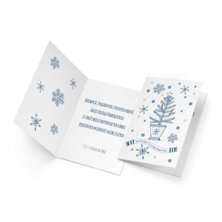 kartka świąteczna w nowoczesnym stylu z choinką