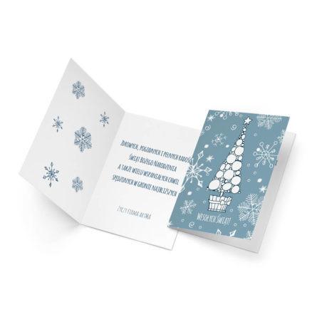 Kartka świąteczne z choinką w nowoczesnym stylu