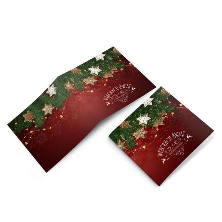 Kolorowa duża kartka świąteczna z choinką i piernikami