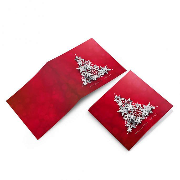 Boże narodzenie kartka świąteczna choinka kolor czerwony
