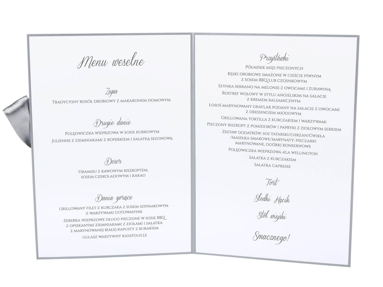 Menu do postawienia na stół weselny opis dań godziny posiłki kolorowe papier ozdobny