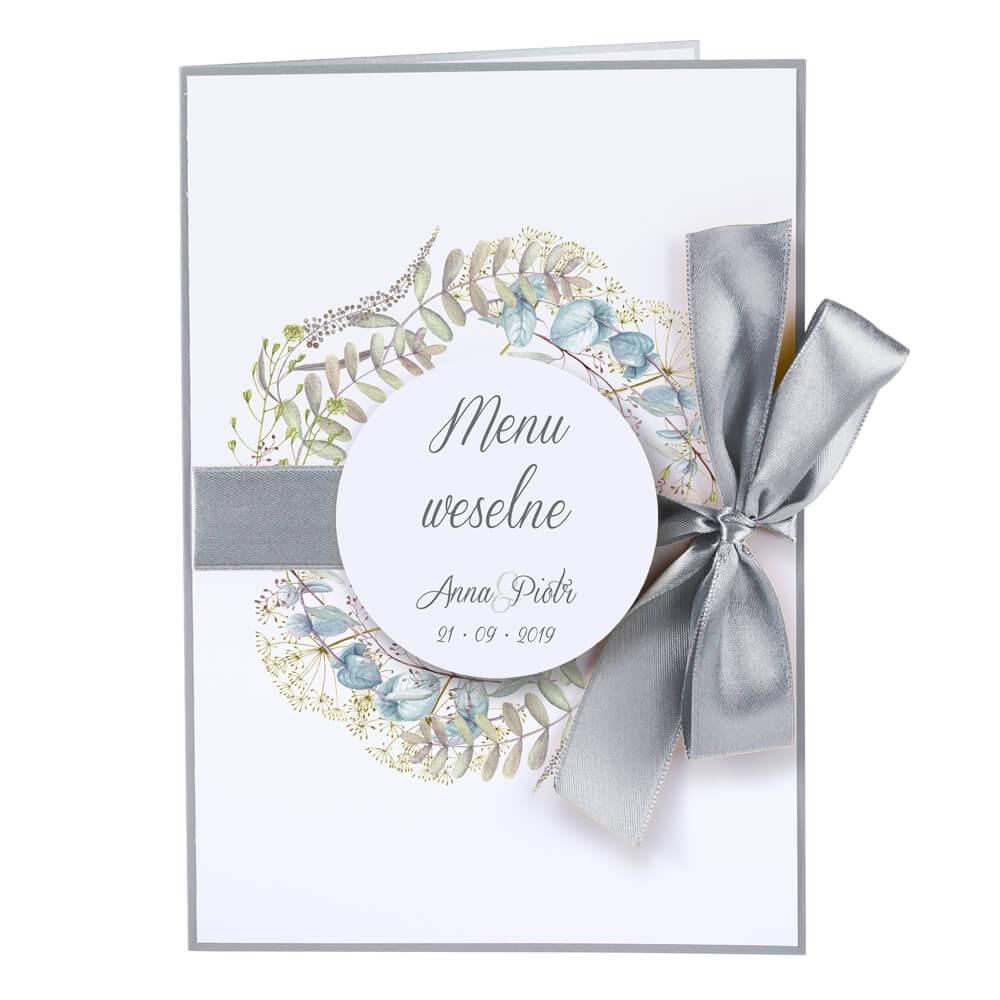 Menu weselne na stół wstążka opis dan godziny motyw kwiatowy personalizacja