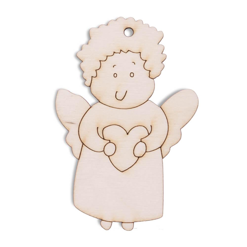 Drewniana ozdoba na choinkę serce love święta anioł
