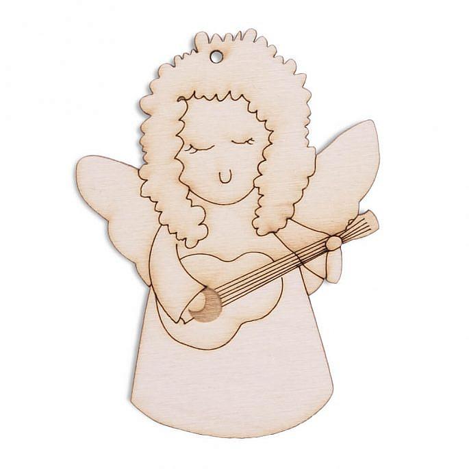 Drewniana ozdoba zawieszka na choinkę skrzypce aniołek