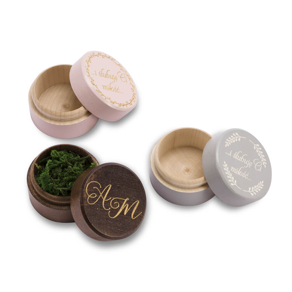 okrągłe pudełeczka na obrączki malowane