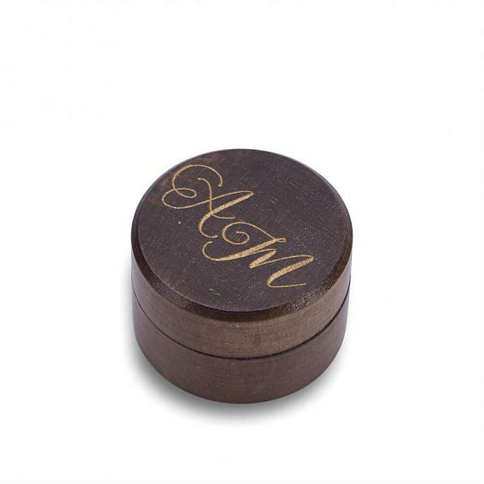 pudełko na obrączki małe tanie brązowe ze złoceniem
