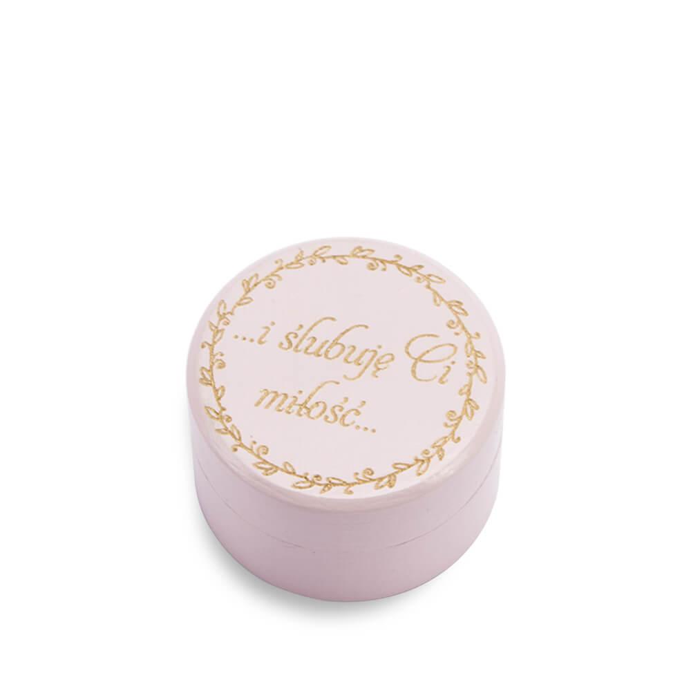 różowe pudełko na obrączki małe tanie