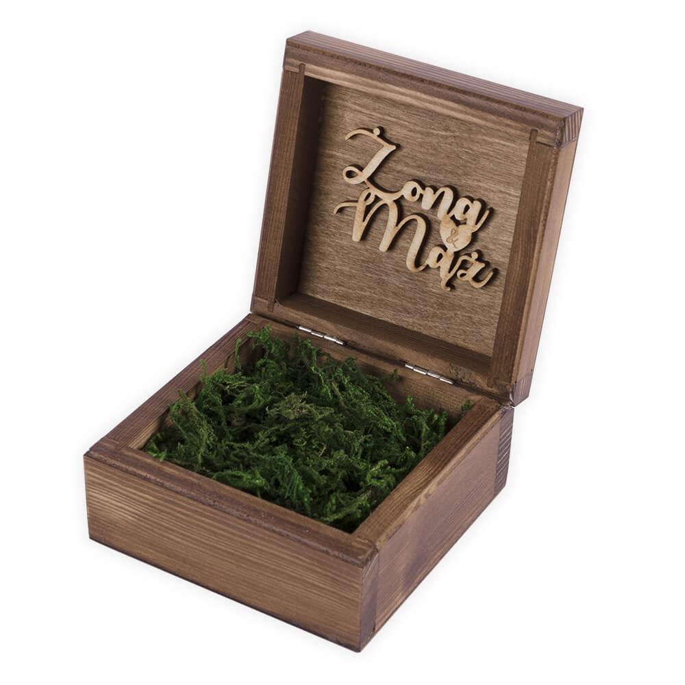 brązowe pudełko na obrączki pendrive