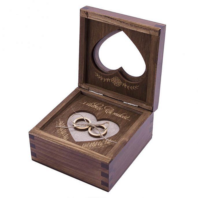 drewniane pudełko na obrączki ślubne