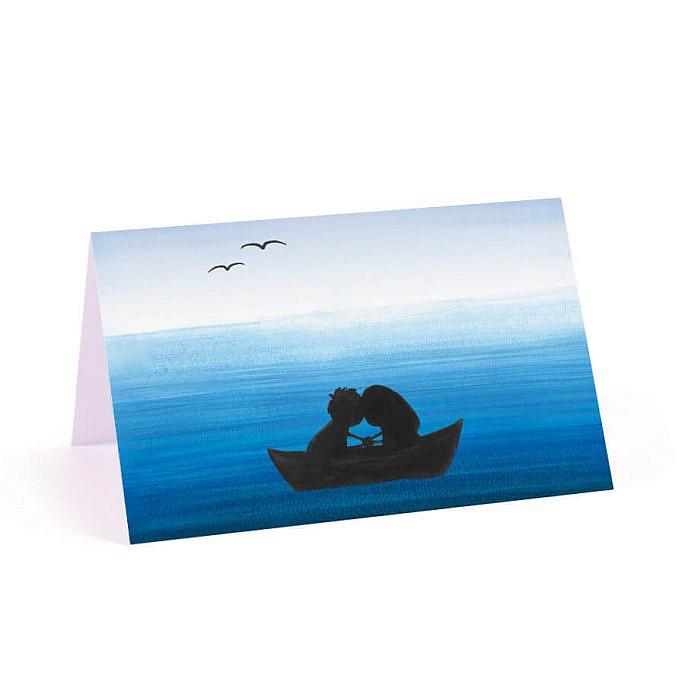 Winietka weselna na stół papierowa niebo morze łódka love młoda para ptaki