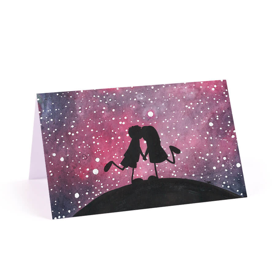Winietka na stół papierowa galaktyka kosmos gwiazdy różowe niebo