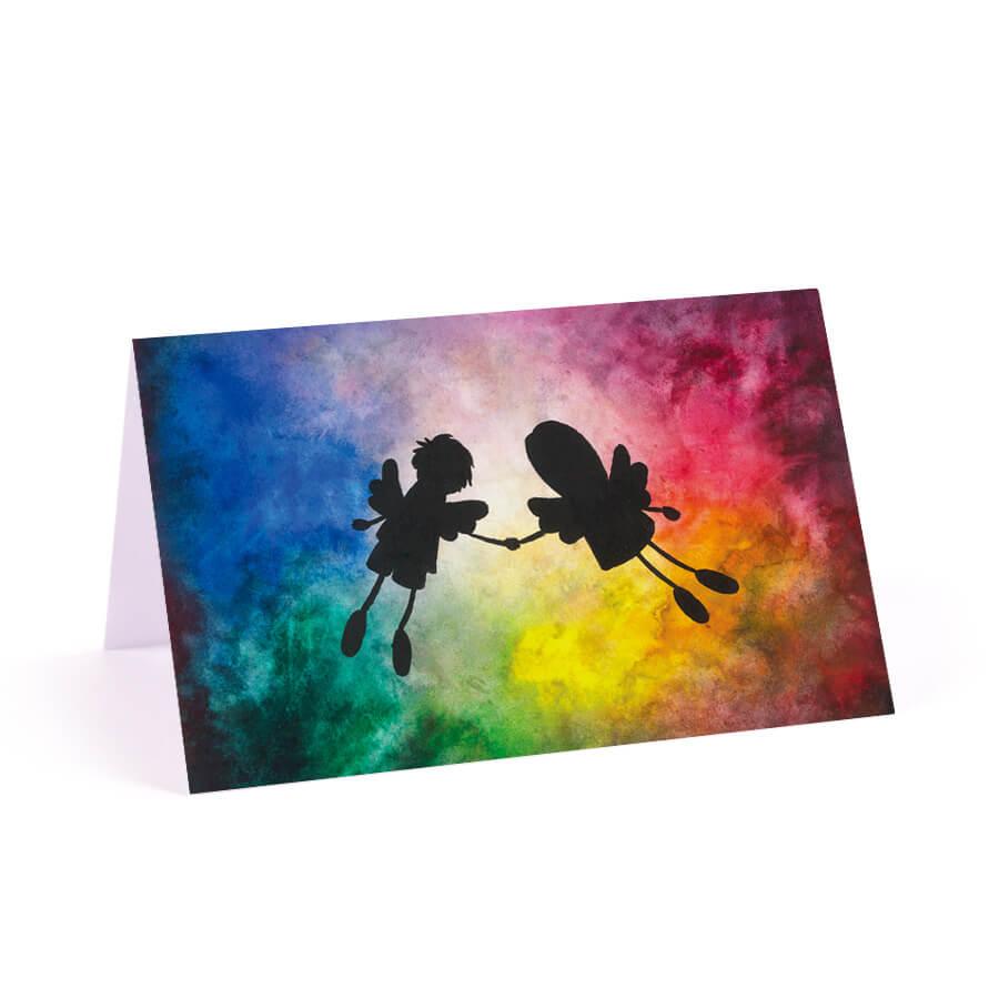 Kolorowa winietka weselna na stół aniołki niebo żywe kolory
