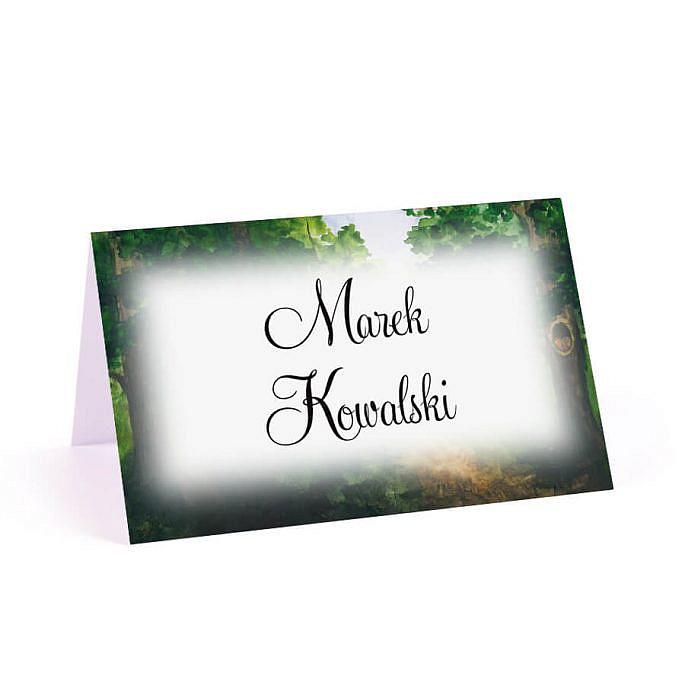 Winietka wizytówka weselna na stół nazwiska gości czcionka