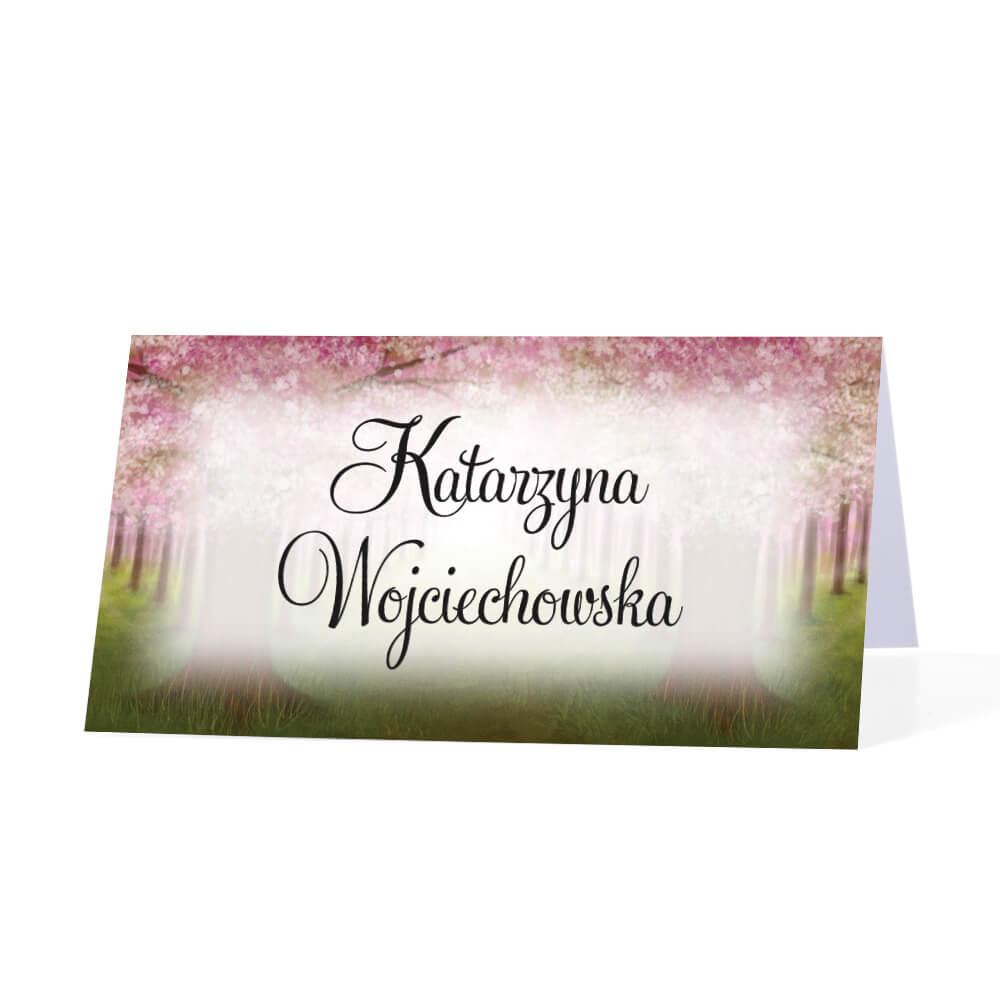 Winietka weselna na stół różowe kwiaty personalizacja