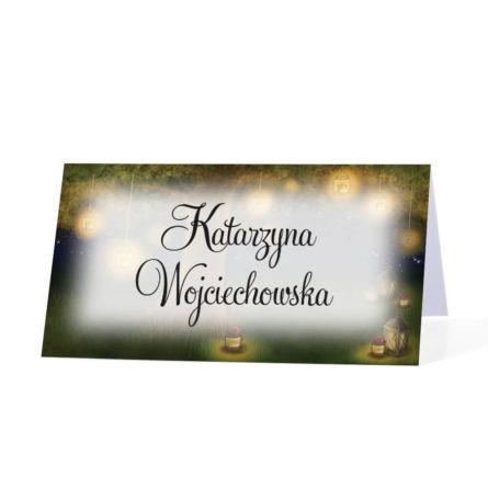 Winietka weselna na stół imię nazwisko papierowa lampiony