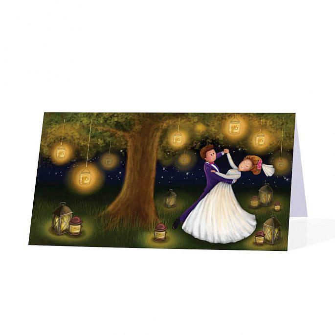 Papierowa winietka weselna na stół tańcząca Para Młoda