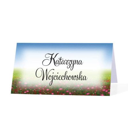 Papierowa winietka na stół imiona gości kolorowe kwiaty