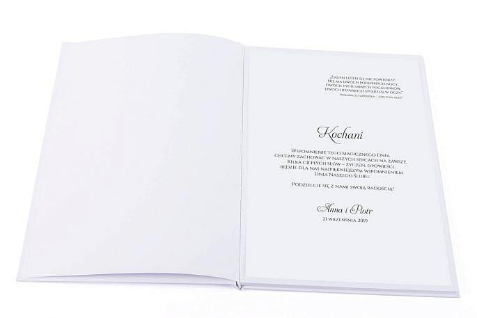 Tekst na pierwszej stronie księgi gości weselnych