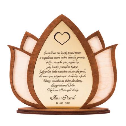 statuetka podziękowanie dla rodziców i świadków kwiat lotosu