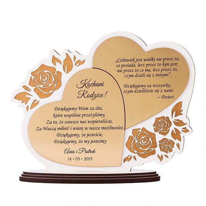 podziękowanie ślubne dla rodziców serca i róże biało złote