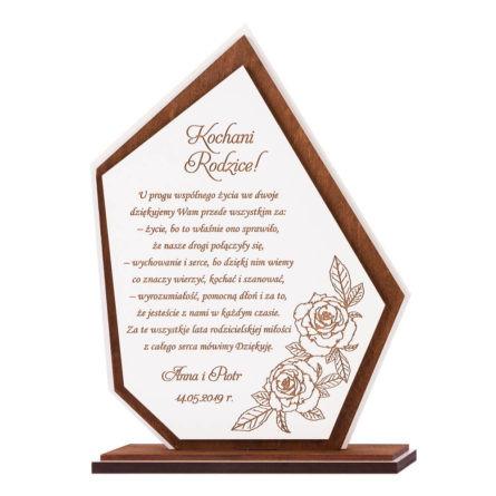 statuuetka podziękowanie dla rodziców na ślub i wesele z własnym tekstem grawerowana