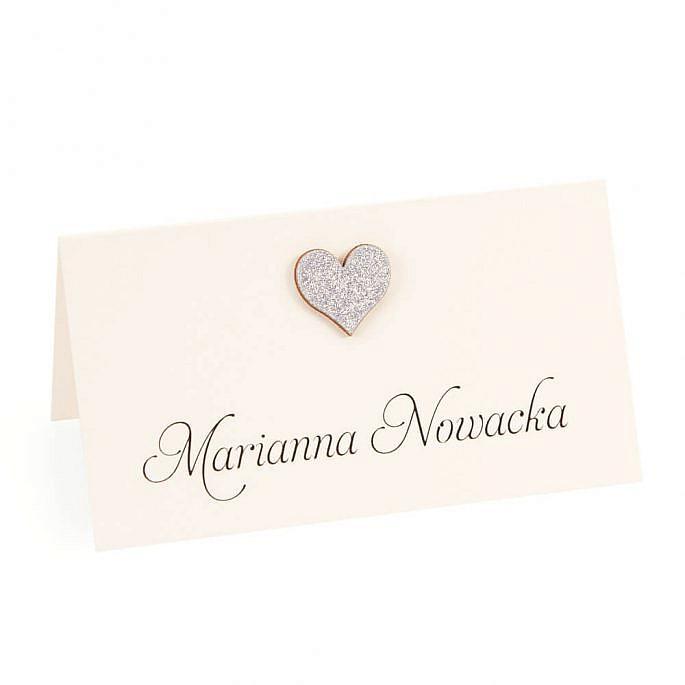 winietka weselna z sercem i brokatowym papierem