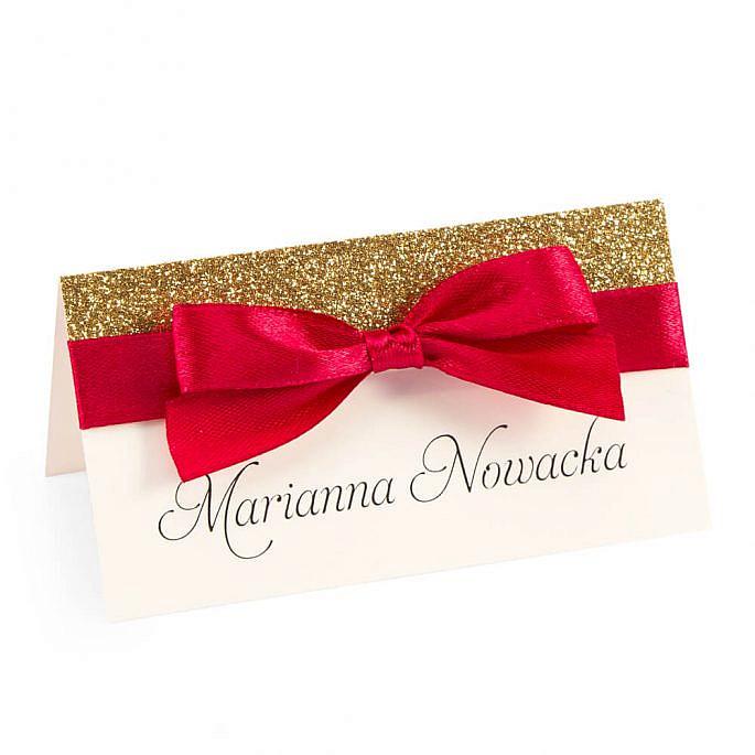 winietka ślubna weselna kolekcja glamour z papierem brokatowym i wstążką