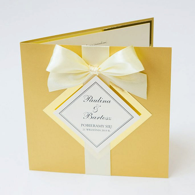 zaproszenia ślubne z papierem lustrzanym glamour
