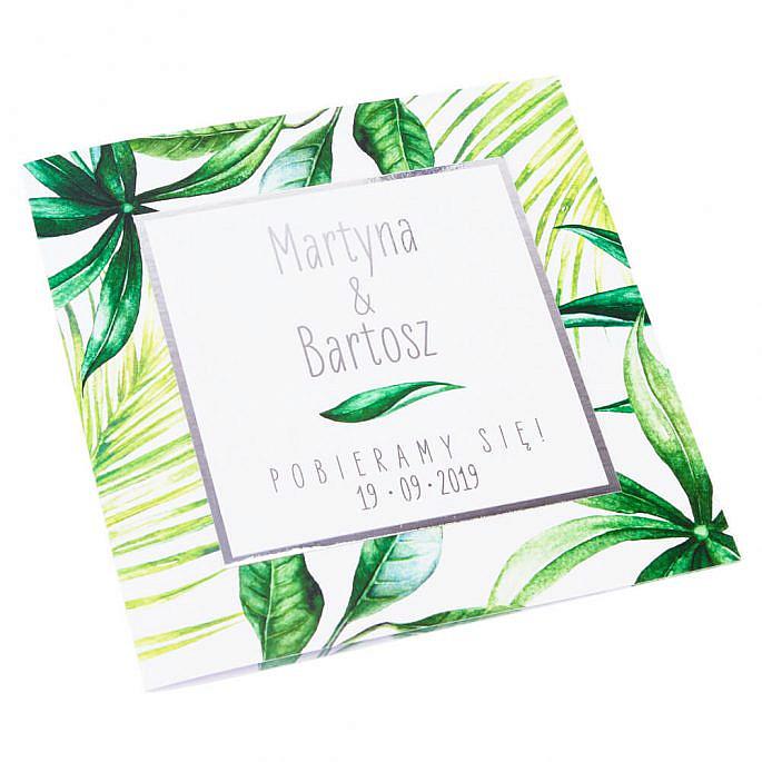 Oryginalne zaproszenia ślubne zielony motyw dżungli