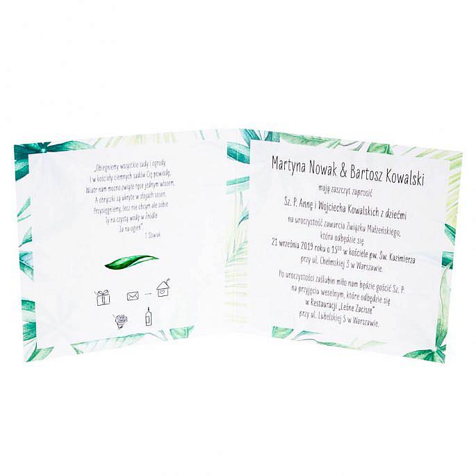 Zielone niczym dżungla zaproszenia ślubne