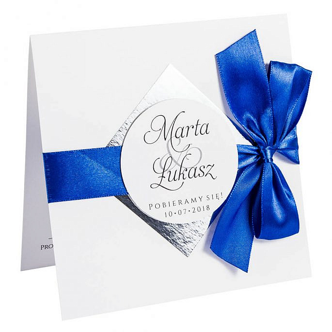 zaproszenia ślubne z papierem lustrzanym w kolorze srebrnym