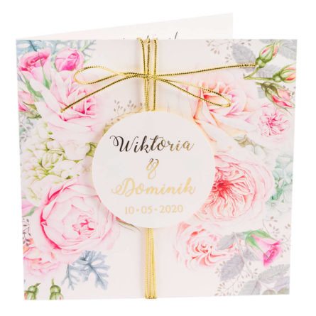 zaproszenia ślubne zezłoceniem ikwiatami róży