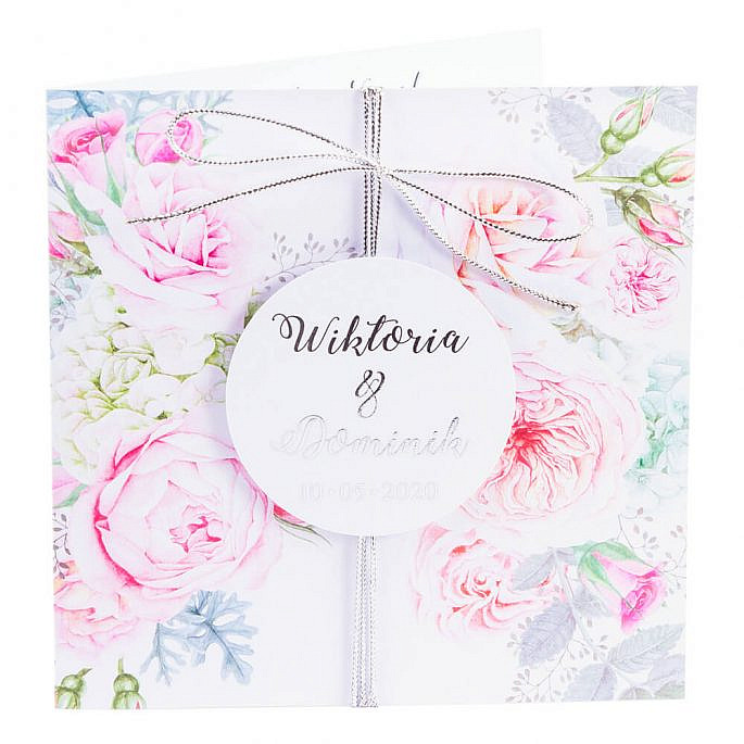 zaproszenia ślubne ze złoceniem i kwiatami róży