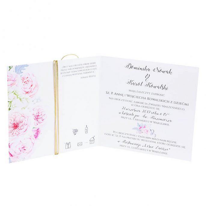 zaproszenia ślubne kwiatami róży i złotym sznurkiem