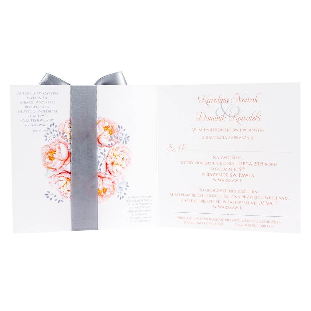 Zaproszenia ślubne Z Grafiką Kwiatów Piwonii W10