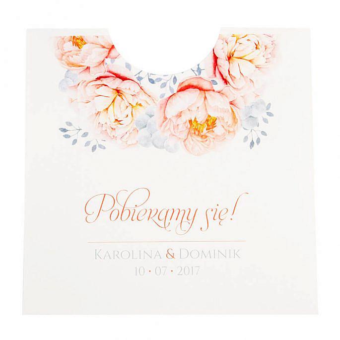 zaproszenia ślubne koperta z nadrukiem kwiatów