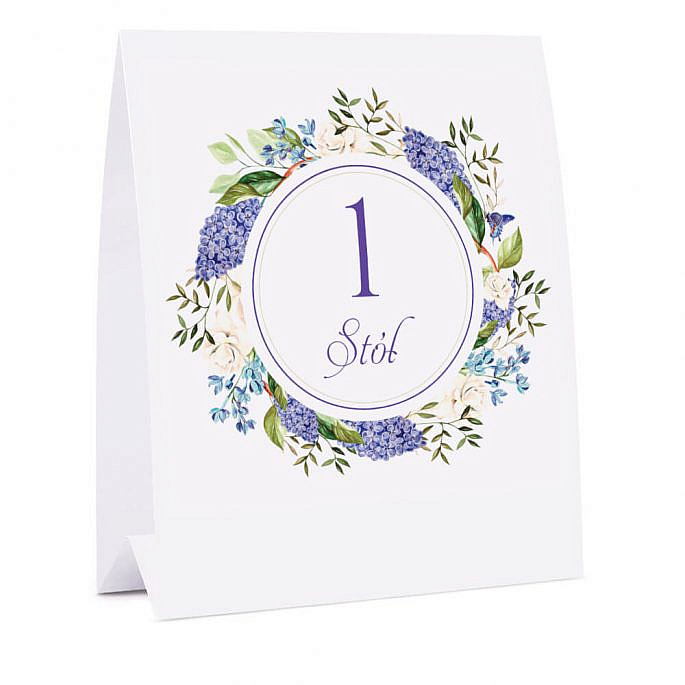 Numer na stół z kwiatami bzu