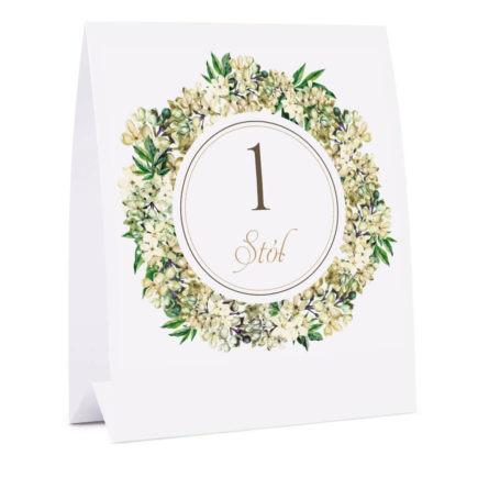 Numer na stół z kwiatami bzu w2