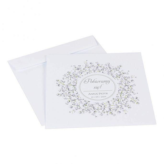 Zaproszenia ślubne z kwiatami Gipsówki koperta
