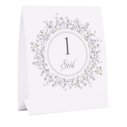 Numer na stół z kwiatami Gipsówki