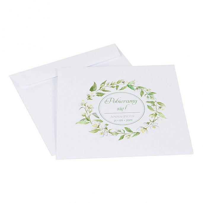 Zaproszenia ślubne z kwiatami jaśminu koperta