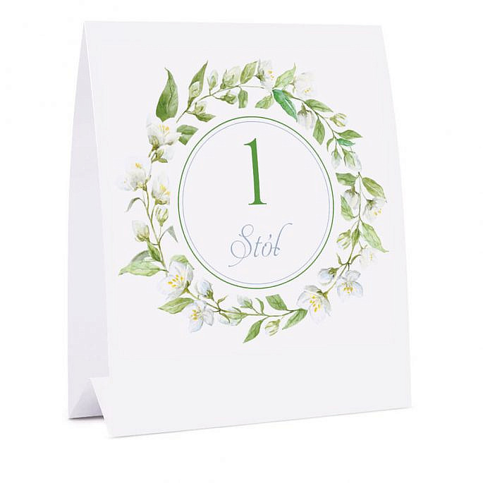 Numer na stół z kwiatami jaśminu
