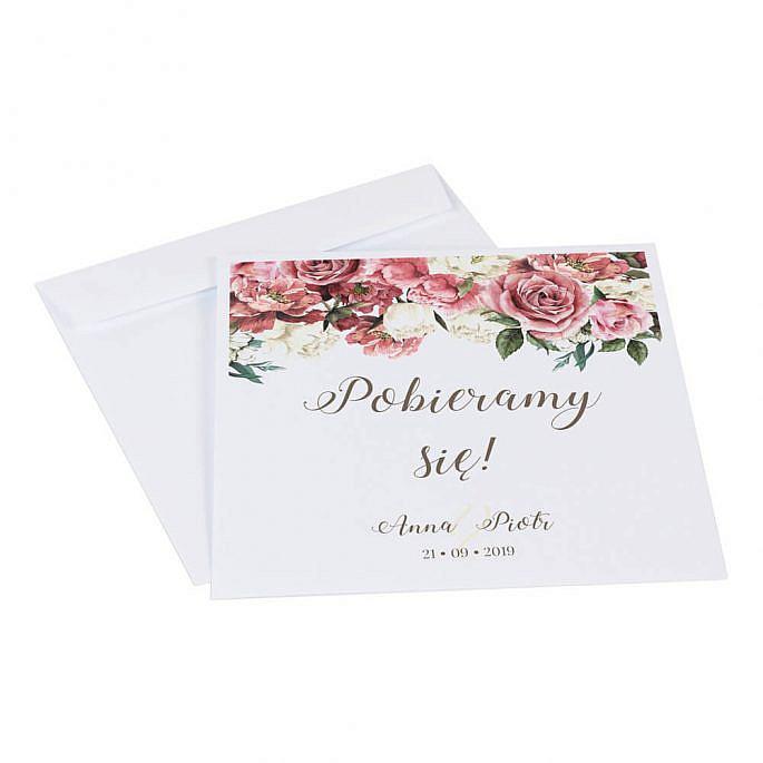 Zaproszenia ślubne Flowery w4 koperta
