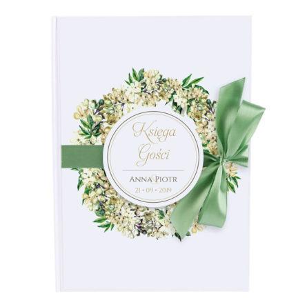 księga gości weselnych z grafiką bzów 50 kart ze wstążką