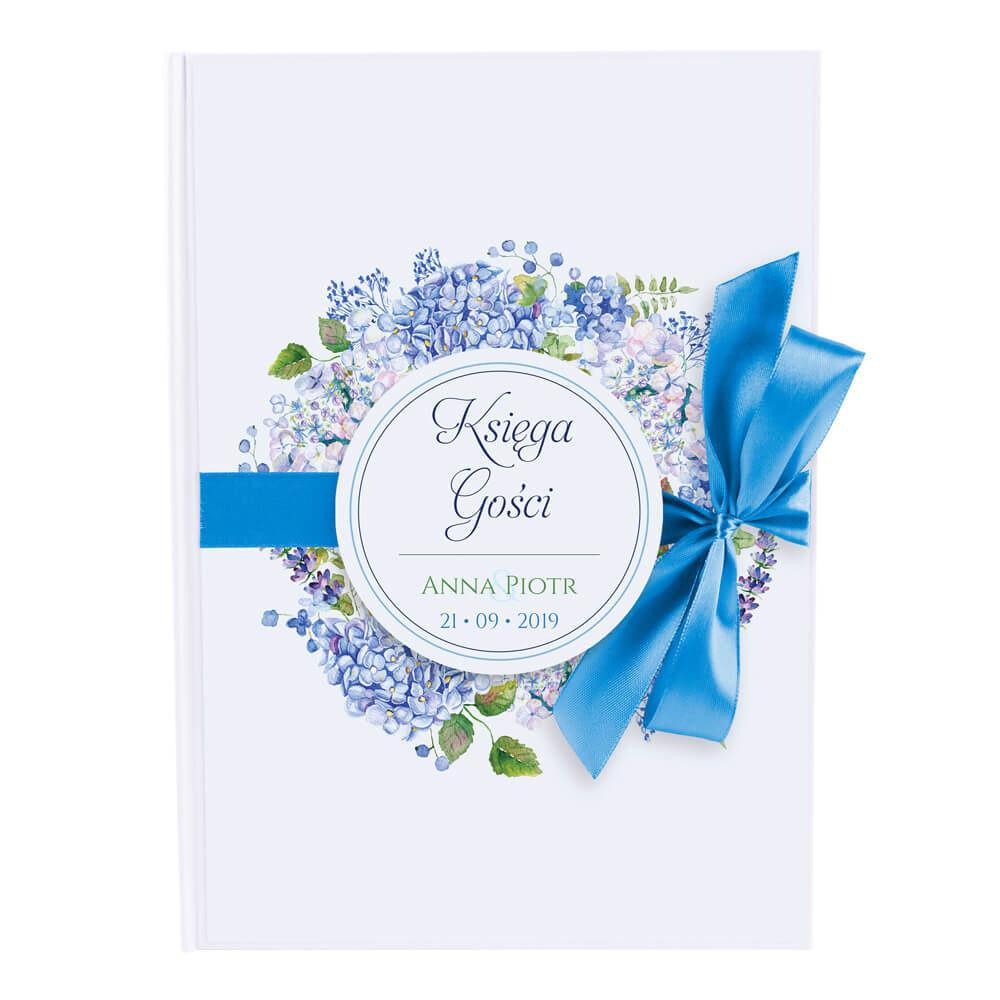księga gości z kwiatami hortensji w kolorze niebieskim