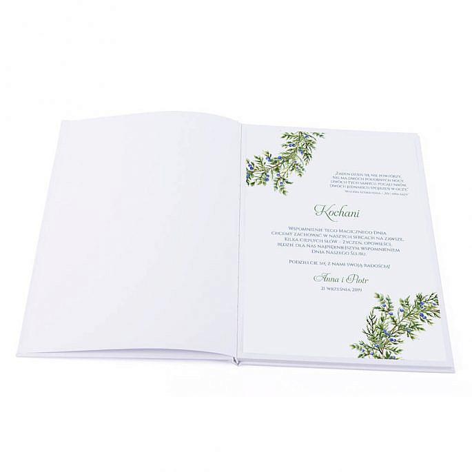 pierwsza strona księgi gości do składania życzeń młodej parze