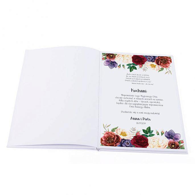Księga gości z życzeniami gości weselnych