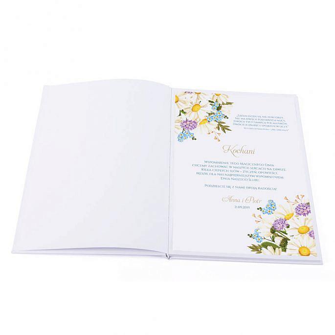 pierwsza strona księgi gości z prośbą o wpisy skierowaną do gości weselnych