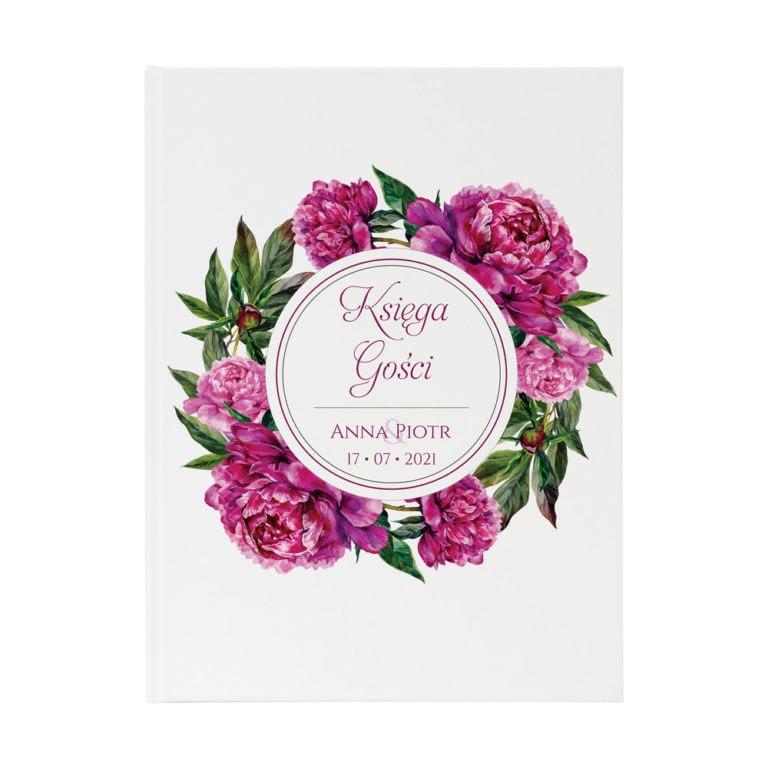 księga gości na wpisy weselników z kwiatami piwonii