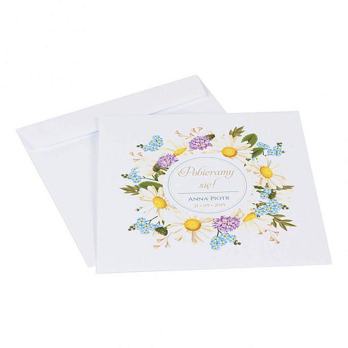 Zaproszenia ślubne z kwiatami polnymi w2 koperta